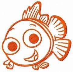 Smiling Nemo embroidery design