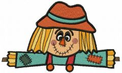 Smiling patchwork scarecrow embroidery design