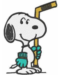 Snoopy hockey embroidery design