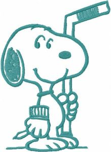 Snoopy hockey one colored embroidery design