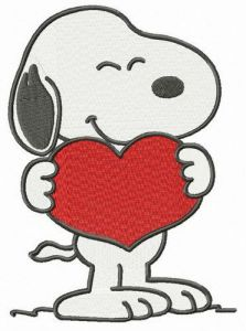 Snoopy I love you embroidery design