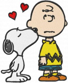 Snoopy kissing Charlie brown embroidery design