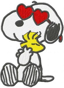 Snoopy loving woodstock embroidery design