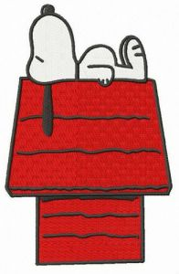 Snoopy sleeping on chimney embroidery design