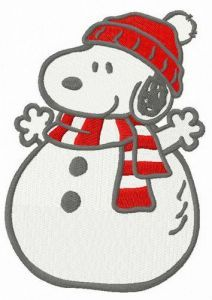 Snoopy snowman embroidery design