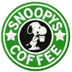 Snoopy's coffee machine embroidery design