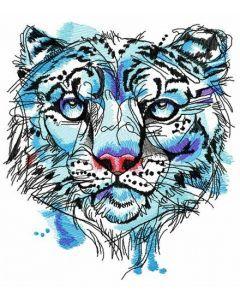 Snow leopard embroidery design
