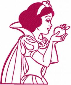 Snow white with apple one colored embroidery design