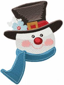Snowman in top hat embroidery design