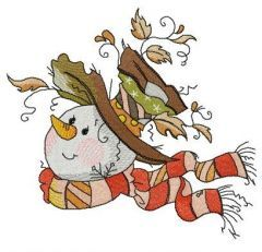 Snowman likes windy weather embroidery design