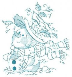 Snowman waiting for snowfall embroidery design