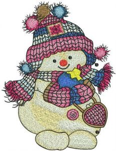 Snowman with Christmas ball embroidery design