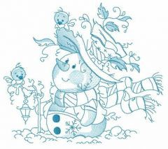 Snowman with his feathered friends embroidery design