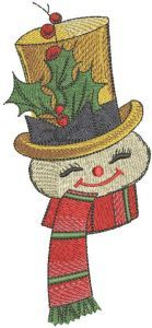 Snowman with scarf and top hat embroidery design
