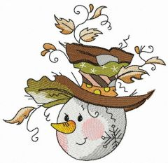 Snowman's stylish hat embroidery design