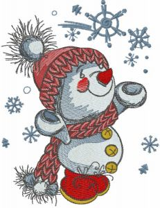 Snowmen playing with snowflakes embroidery design