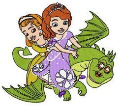 Sofia and dragon embroidery design