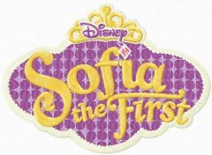 Sofia The First logo embroidery design