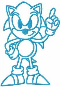 Sonic first one colored embroidery design
