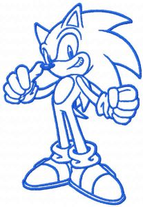 Sonic one color embroidery design