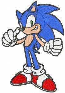 Sonic power game embroidery design