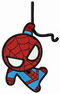 Spiderman hangs on rope embroidery design