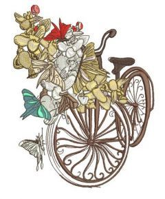 Spring bicycle machine embroidery design 2