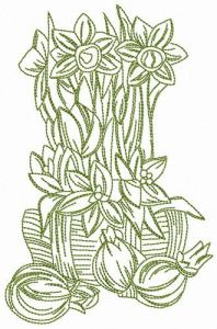 Spring bouquet from granny embroidery design