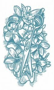 Spring composition with scissors embroidery design