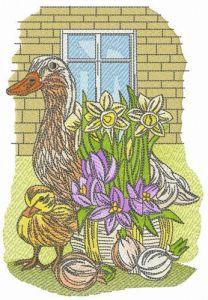 Spring is coming embroidery design