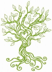 Spring tree of love embroidery design 2