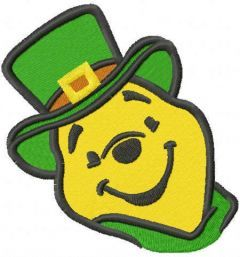 St patrick pooh embroidery design