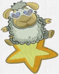 Star lamb machine embroidery design