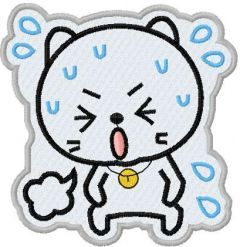 Sticker Angry kitty embroidery design