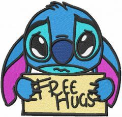 Stitch free hugs embroidery design