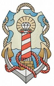 Striped lighthouse embroidery design 3