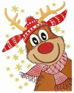 Stylish deer embroidery design