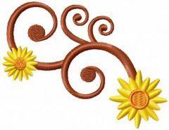 Sun swirl embroidery design