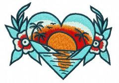 Sunset in my heart embroidery design