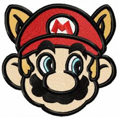 Super Mario raccoon face embroidery design