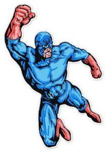Superhero's attack embroidery design