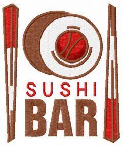 Sushi bar embroidery design
