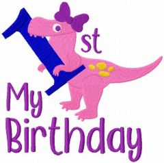T-rex first birthday embroidery design