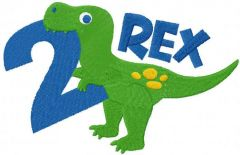 T-rex second birthday embroidery design