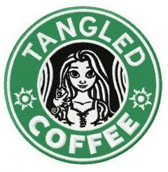 Tangled coffee embroidery design
