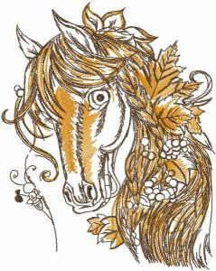 Tattered autumn horse embroidery design
