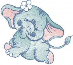 Tattered dancing elephant embroidery design