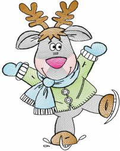 Tattered winter deer embroidery design