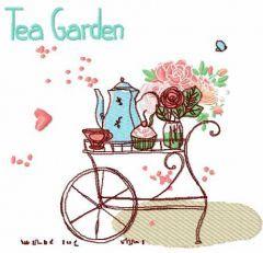 Tea garden embroidery design
