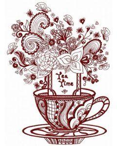 Tea time post card 2 embroidery design